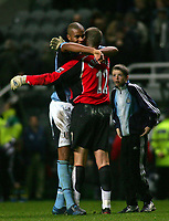 Photo. Andrew Unwin, Digitalsport<br /> Newcastle United v Fulham, Barclays Premiership, St James' Park, Newcastle upon Tyne 07/11/2004.<br /> Fulham's goalkeeper, Mark Crossley (R), celebrates with his team-mate, Zat Knight (L).