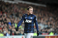 Wayne Rooney goes to take a corner for Manchester United.<br /> Barclays Premier League match, Cardiff city v Manchester Utd at the Cardiff city stadium in Cardiff, South Wales on Sunday 24th Nov 2013. pic by Phil Rees, Andrew Orchard sports photography,