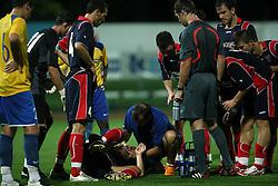 Injury at 1st game of UEFA Cup  Qualifying Round 1 between FC Anet Koper, Slovenia vs KS Vllaznia Shkoder, Albania, on July 17, 2008, in Nova Gorica, Slovenia. Vlazznia won the match 2:1. (Photo by Vid Ponikvar / Sportal Images)