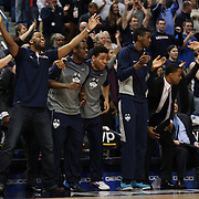 The UConn bench celebrate during the UConn Huskies Vs Tulsa Semi Final game at the American Athletic Conference Men's College Basketball Championships 2015 at the XL Center, Hartford, Connecticut, USA. 14th March 2015. Photo Tim Clayton