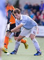 EINDHOVEN - hockey - Eby kessing van Bl'daal tijdens de hoofdklasse hockeywedstrijd tussen de mannen van Oranje-Zwart en Bloemendaal (3-3). COPYRIGHT KOEN SUYK
