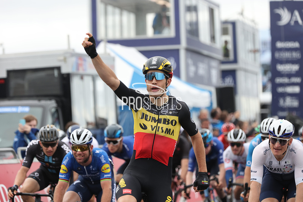 Wout van Aert of Team Jumbo-Visma wins Stage 8 of the AJ Bell Tour of Britain 2021 between Stonehaven to Aberdeen, , Scotland on 12 September 2021.