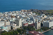 Aerial of old city of San Juan, Puerto Rico.