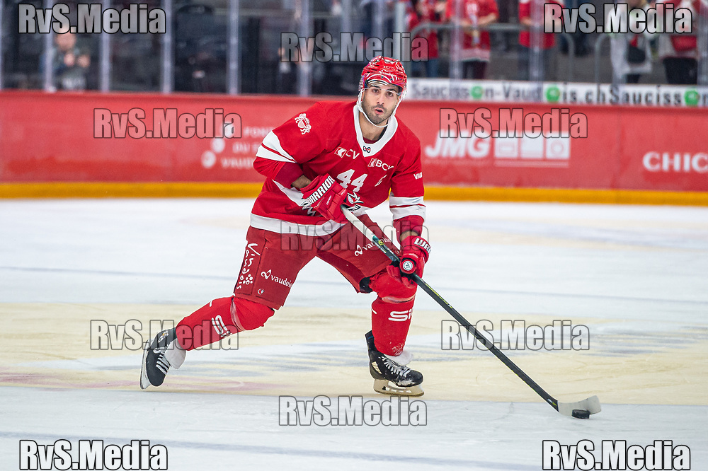 LAUSANNE, SWITZERLAND - SEPTEMBER 28: Mark Barberio #44 of Lausanne HC in action during the Swiss National League game between Lausanne HC and SC Bern at Vaudoise Arena on September 28, 2021 in Lausanne, Switzerland. (Photo by Monika Majer/RvS.Media)