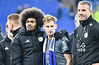 Football - 2018 / 2019 Premier League - Cardiff City vs. Leicester City<br /> <br /> Leicester players applaud their fans after the victory in Leicester's 1st match since the death of Vichai Srivaddhanaprabha, at Cardiff City Stadium.<br /> <br /> COLORSPORT/WINSTON BYNORTH