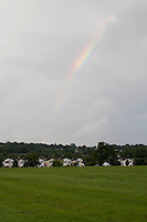 Rainbow over suburban housing estate in Dublin Ireland