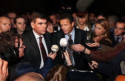 BRUSSELS, BELGIUM - NOV-9-2004 - Belgian Court of Appeals decision in the trial against the Flemish extreme right political party Vlaams Blok. (PHOTO © JOCK FISTICK)..Filip Dewinter  - Frank Vanhecke - Mary-Rose Morel<br />