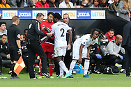 Wilfried Bony of Swansea city (2) is replaced by substitute Renato Sanches in the 2nd half. Premier league match, Swansea city v Watford at the Liberty Stadium in Swansea, South Wales on Saturday 23rd September 2017.<br /> pic by  Andrew Orchard, Andrew Orchard sports photography.