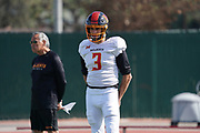 Los Angeles Wildcats quarterback Charles Kanoff (3) and offensive coordinator Norm Chow during practice, Wednesday, Feb. 5, 2020, in Long Beach, Calif. The Wildcats are part of the eight-team XFL, a professional American football league owned by Vince McMahon's Alpha Entertainment, with  headquarters in Stamford, Connecticut. It is the successor to the original XFL, which was controlled by the World Wrestling Federation (WWF, now WWE)  and NBC, and ran for a single season in 2001.