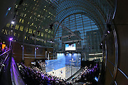 a General view of the Court during a Wildcard Challenge match between Josh Masters of England (wearing Blue Shirt) vs Lyell Fuller of England (wearing the White shirt), before the main Final. Canary Wharf Squash Classic 2016 , at the East Wintergarden in Canary Wharf , London on Friday 11th March 2016.<br /> pic by John Patrick Fletcher, Andrew Orchard sports photography.