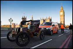 November 6, 2016 - London, London, United Kingdom - Image ©Licensed to i-Images Picture Agency. 06/11/2016. London, United Kingdom. ..The London to Brighton Veteran Car Run 2016...The RAC come to the rescue of A 1902 Crestmobile Runabout driven by Jos van Genugten on Westminster Bridge in central London, UK, on the first leg of the journey from London to Brighton...Picture by Ben Stevens / i-Images (Credit Image: © Ben Stevens/i-Images via ZUMA Wire)