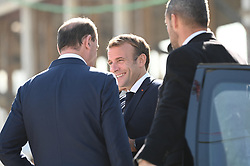 Prime Minister Jean Castex greets President Emmanuel Macron as he arrives for a visit to the construction site of the 2024 Olympic Games Village in Saint-Ouen on the outskirts of Paris, France on October 14, 2021, part of a visit to construction sites dedicated to the Paris 2024 Olympic and Paralympic Games. Photo by Eliot Blondet/ABACAPRESS.COM