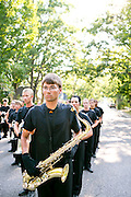 The Oregon Marching Band, collectively known as Shadow Armada, performs their final show in Traverse City, Michigan on July 13, 2013.