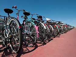 Many bicycles parked at public bicycle park in Amsterdam The Netherlands