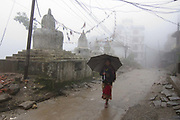 Morning fog in Charikot, district headquarters of Dolakha.