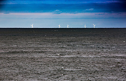 Wind turbines off the coast at Slains Castle, near Aberdeen. In 1895 the author Bram Stoker visited the area, staying at a cottage near Cruden Bay. The castle is commonly cited as an inspiration for Stoker's 1897 novel Dracula.