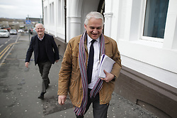 © Licensed to London News Pictures . 16/02/2017. Stoke-on-Trent, UK. PATRICK O'FLYNN leaves after Paul Nuttall fails to turn up. Hustings with Lib Dem candidate Dr Zulfiqar Ali, Conservative candidate Jack Brereton,  Labour candidate Gareth Snell and, in place of UKIP candidate Paul Nuttall , Patrick O'Flynn, campaigning in the Stoke Central by-election . Photo credit: Joel Goodman/LNP