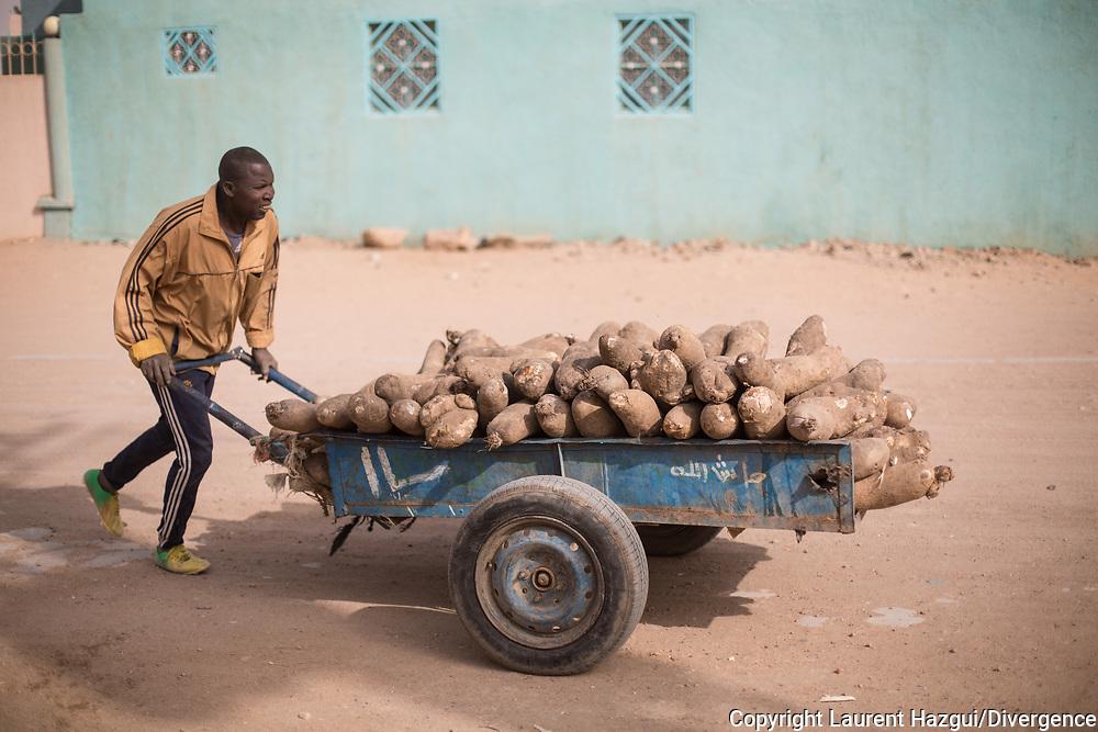 28012018. Niger. Agadez. Les porteurs. Face au chômage endémique, chacun trouve sa petite activité de commerce pour survivre.