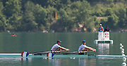 Aiguebelette, FRANCE.  Men's lightweight double sculls, FRA LM2X winning and celebrating, Stany DELAYRE  and Jeremie AZOU   2014 FISA World Cup II, 11:39:20  Sunday  22/06/2014. [Mandatory Credit; Peter Spurrier/Intersport-images]