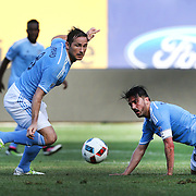 NEW YORK, NEW YORK - May 29:  Frank Lampard #8 of New York City FC and David Villa #7 of New York City FC in action during the New York City FC Vs Orlando City, MSL regular season football match at Yankee Stadium, The Bronx, May 29, 2016 in New York City. (Photo by Tim Clayton/Corbis via Getty Images)