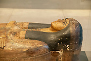 Painted wood and plaster Coffin of Meret-en-ahet. New Kingdom end of the 20th Dynasty 1200-1050 BC