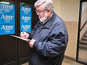 01 FEBRUARY 2020 - DES MOINES, IOWA: A person signs into a campaign event for Sen Amy Klobuchar. Sen. Klobuchar campaigned in Iowa to support her candidacy for the US Presidency Saturday. She is trying to capitalize on her recent uptick in national polls. Iowa holds the first selection event of the presidential election cycle. The Iowa Caucuses are Feb. 3, 2020.              PHOTO BY JACK KURTZ