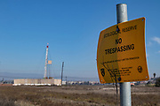 Natural gas production facility operating on ecological reserve. Ballona Wetlands, Playa Del Rey, Los Angeles, California, USA