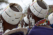 Africa, Tanzania, Maasai tribe an ethnic group of semi-nomadic people Traditional head dress