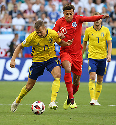 SAMARA, July 7, 2018  Dele Alli (R front) of England vies with Viktor Claesson of Sweden during the 2018 FIFA World Cup quarter-final match between Sweden and England in Samara, Russia, July 7, 2018. (Credit Image: © Li Ming/Xinhua via ZUMA Wire)
