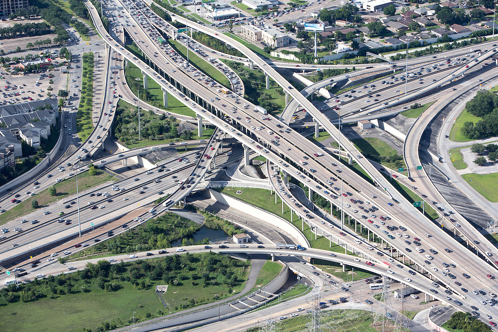 The Southwest Freeway meets the 610 loop. This interchange has been listed as one of the most congested interchanges in Texas.