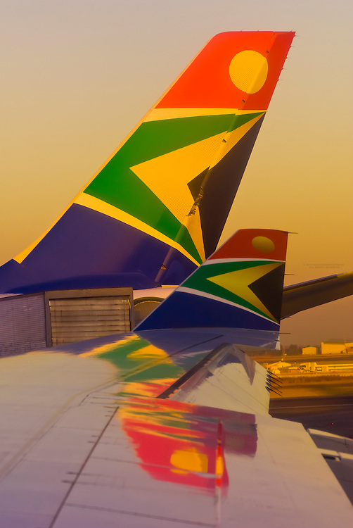 South African Airways jets at OR Tambo International Airport, Johannesburg, South Africa