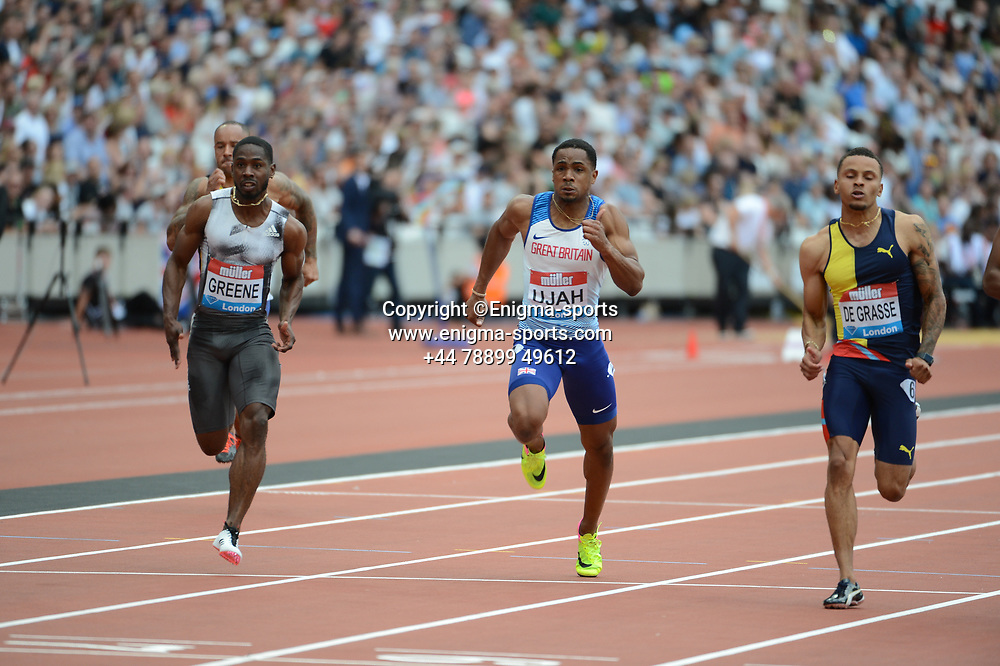 Chijindu Ujah competes in the men's 100m during the IAAF Diamond League at the Queen Elizabeth Olympic Park London, England on 20 July 2019.
