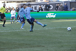 March 11, 2018 - New York, New York, United States - Ben Sweat (2) of NYC FC shoots ball on goal during regular MLS game against LA Galaxy at Yankee stadium NYC FC won 2 -1  (Credit Image: © Lev Radin/Pacific Press via ZUMA Wire)