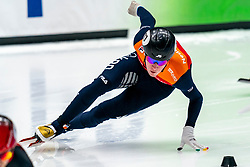 Sven Roes in action on the 500 meter during ISU World Cup Finals Shorttrack 2020 on February 14, 2020 in Optisport Sportboulevard Dordrecht.