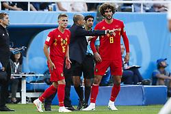 (l-r) Thorgan Hazard of Belgium, coach Roberto Martinez of Belgium, Marouane Fellaini of Belgium during the 2018 FIFA World Cup Russia group G match between England and Belgium at the Kalingrad stadium on June 28, 2018 in Kaliningrad, Russia