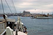 Ship leaving harbour port of Palma de Mallorca, Balearic Islands, Spain 1950s