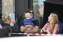 Please hide the child's face prior to the publication - Exclusive - Diane Kruger and Jessica Chastain are filming the movie 355 in Paris, France, on July 8, 2019. Norman Reedus, Diane Kruger's boyfriend is here with their daughter and Gian Lucas Passi de Preposulo is also here to support his wife Jessica Chastain. NO CREDIT a3