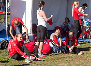 New York, New York - Cornell runners get ready to compete in the Ivy League Heptagonal women's cross country championship meet at Van Cortlandt Park in the Bronx on Oct. 26, 2017.