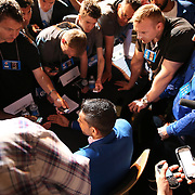 Boxer Amir Khan is interviewed by reporters after the undercard final press conference for the Mayweather & Maidana boxing match at the Hollywood Theater, inside the MGM Grand hotel on Thursday, May 1, 2014 in Las Vegas, Nevada.  (AP Photo/Alex Menendez)