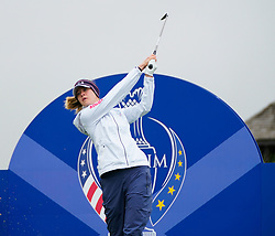 Auchterarder, Scotland, UK. 12 September 2019. Final practice day at 2019 Solheim Cup on Centenary Course at Gleneagles. Pictured; Nellie Korda drives on 6th. hole Iain Masterton/Alamy Live News