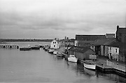 06-10/04/1964.04/06-10/1964.06-10 April 1964.Views on the River Shannon. The lock, quay and Shannon Navigation offices at Athlone, Co. Westmeath.
