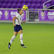 ORLANDO, FL - JANUARY 22:  Ali Krieger #11 of United States heads the ball against Colombia at Exploria Stadium on January 22, 2021 in Orlando, Florida. (Photo by Alex Menendez/Getty Images) *** Local Caption *** Ali Krieger