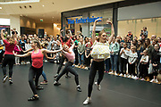 Ballet flashmob, including dancers from local dance schools and the community perform in the Bullring to a packed audience during the Birmingham Weekender Arts And Culture Festival on 23rd September 2017 in Birmingham, United Kingdom.