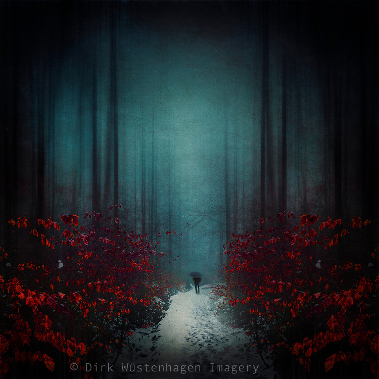 Man walking through snow slush on a dark forest path. Photo manipulation with my own images<br /> Licenses--> https://www.trevillion.com/stock-photo/man-walking-through-snow-slush-on-a-dark-forest-path-photomanipulation-with/search/detailmodal-0_00277737.html?dvx=2841