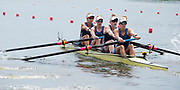 Poznan, POLAND, 21st June 2019, Friday, Morning Heats, USA1 W4-,  (b) OPITZ Victoria, (2) WANAMAKER Madeleine, (3) REGAN Emily and (S) BRUGGEMAN Molly,  FISA World Rowing Cup II, Malta Lake Course, © Peter SPURRIER/Intersport Images,<br /> <br /> 11:28:50