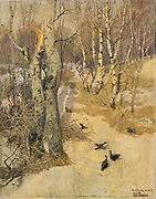 Woodland Path Under Snow. Oil on Canvas. Fritz Thaulow (1847-1906) Norwegian painter.  Season Winter Cold Game Bird Pheasant Tree Birch
