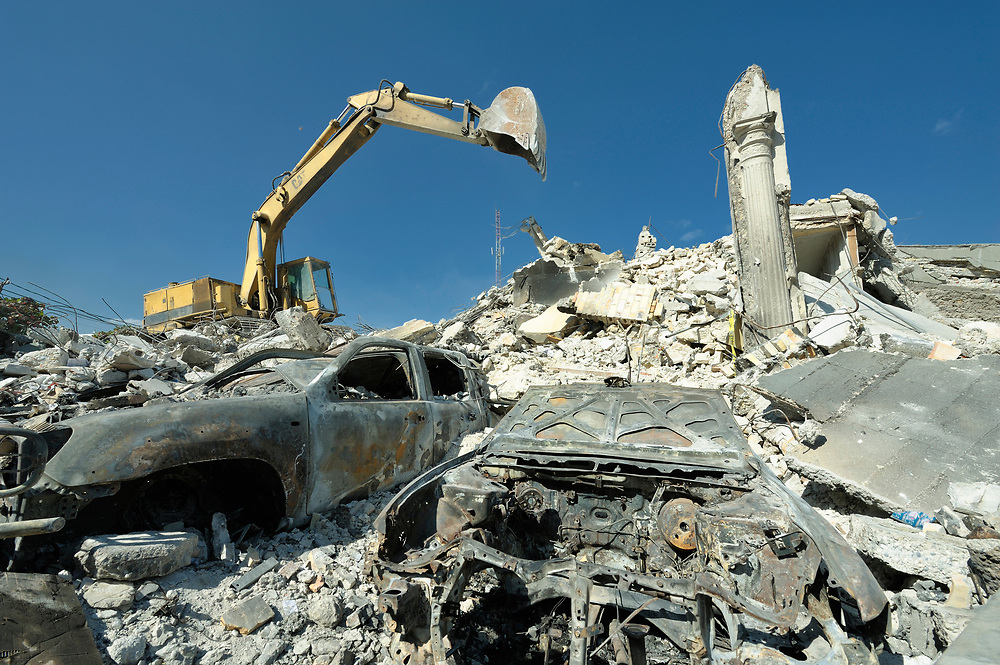 Clearing of the rubble begins slowly in Port-au-Prince, Haiti, much of which was devastated in a January 12 earthquake.