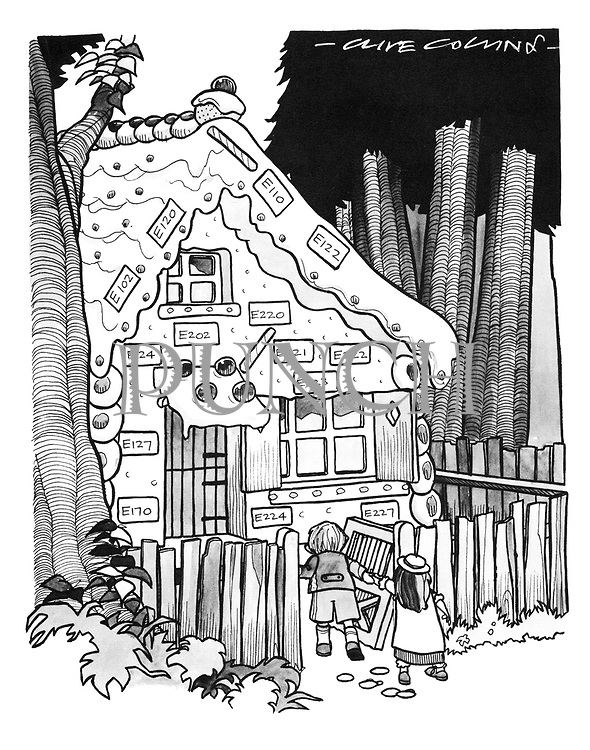 Hansel and Gretel entering gingerbread house displaying E numbers)