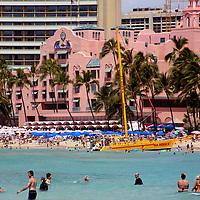View of world famous Waikiki Beach in Honolulu, Hawaii, and the Royal Hawaiian Resort.