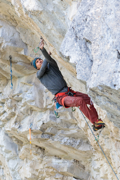 Jonathan Siegrist climbing Magician's Apprentice, 5.14b at Planet X in Cougar Canyon, Canmore, AB